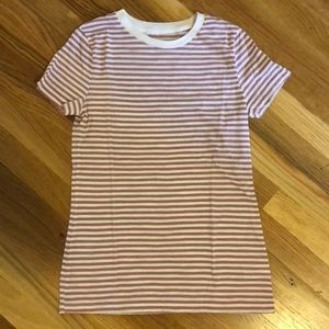 Mossimo Pink and Cream Striped T- Shirt